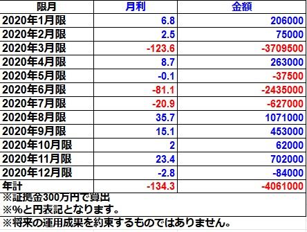 オプションライトコース2020年実績(300万円)